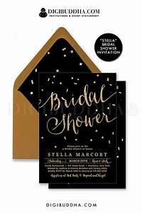 Elegant black and gold glitter bridal shower invitation for Black and gold wedding shower invitations