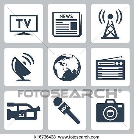 clip art  vector mass media icons set  search