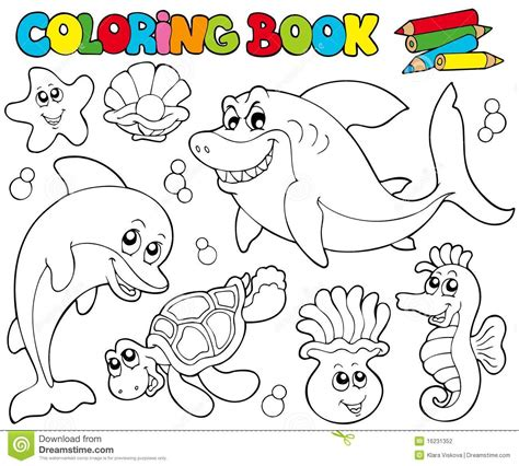 Coloring Book by Coloring Book With Marine Animals 2 Stock Vector