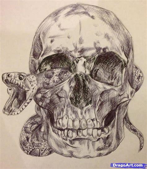How Draw Frightening Skull Step Skulls Pop
