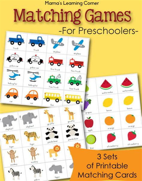 video games for preschoolers free printable match packet mamas learning corner 443