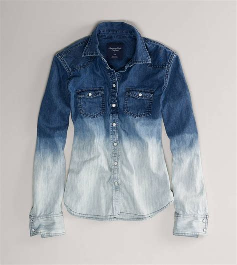 AE Ombre Denim Western Shirt   American Eagle Outfitters
