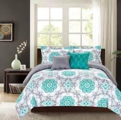 crest home sunrise king comforter 5 pc bedding set teal and grey medallion oversized and