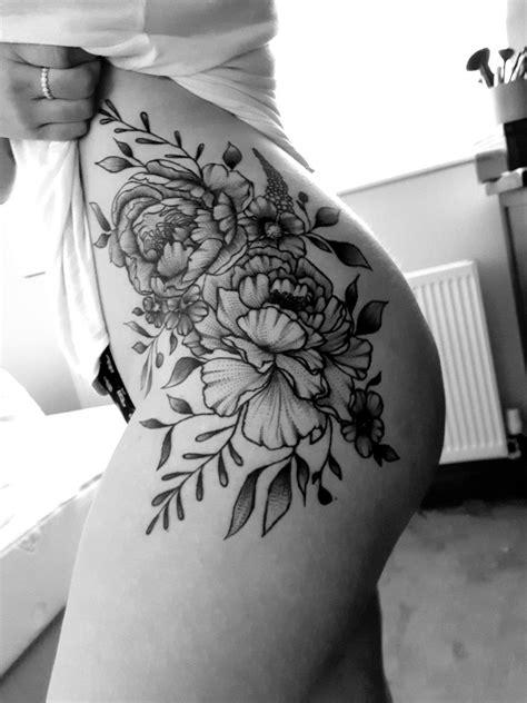 Peony tattoos on hip, rib and upper thigh | Tattoos | Pinterest | Tatuajes, Dibujos tattoo and