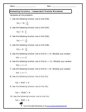 evaluating functions practice worksheet fill