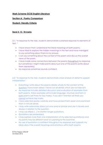 aqa gcse english literature paper  comparing poems student friendly mark scheme teaching