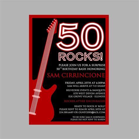 birthday rock  roll party invitation