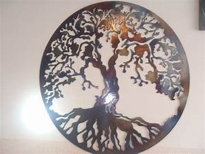 tree of life metal wall decor metal art heat colored With tree of life wall decor
