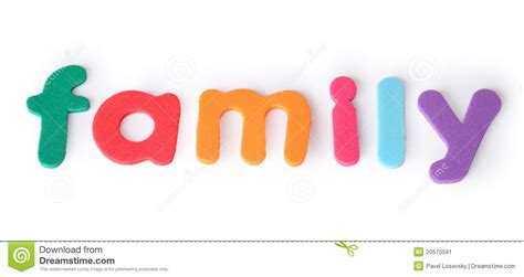 Family, Letters For Child, English Word Isolated Stock
