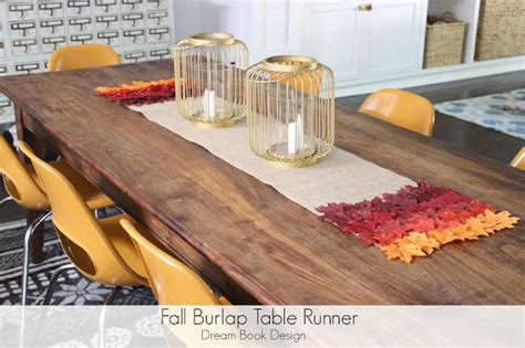 fall table runners to make fall burlap table runner no sew dream book design