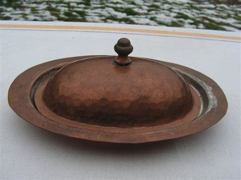 vintage hand hammered copper  tinned butter dish