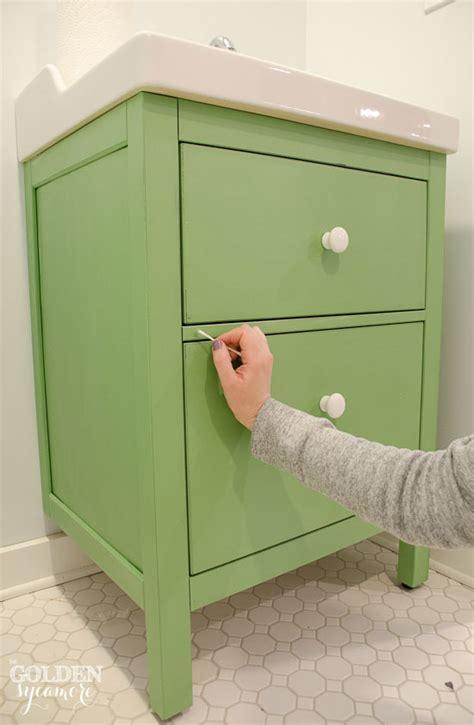 Ikea Hemnes Bathroom Cabinet Hack by Green Ikea Custom Bathroom Vanity The Golden Sycamore