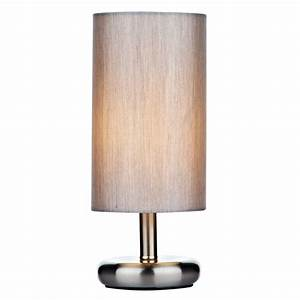 Tic4139 tico touch table lamp satin chrome with shade for Touch table lamps