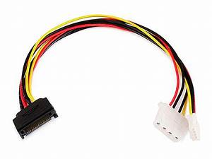 Monoprice 12inch Sata 15pin Male To 4pin Molex And 4pin