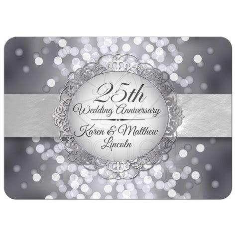 silver anniversary anniversary party invitation silver anniversary bokeh medallion