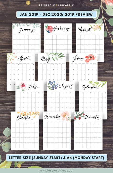floral  botanical calendar   letter size