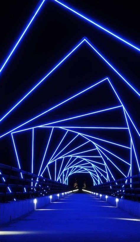 high trestle bridge   futuristic lighting light