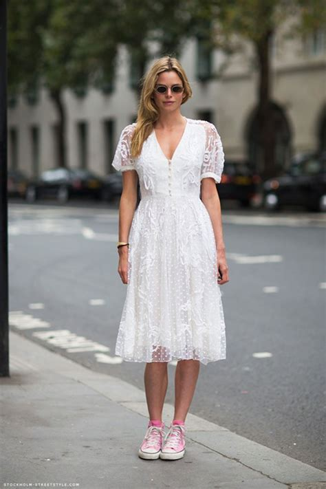 lace dress  sneakers