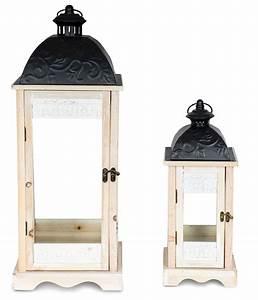 Laterne Weiß Holz : 2er set laterne 71cm hoch braun wei ornamente holz ~ Watch28wear.com Haus und Dekorationen