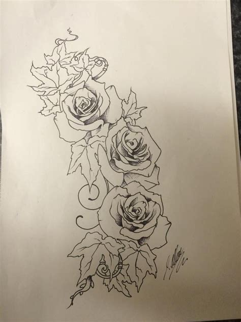 roses  ivy  sketch  tattoo design    travis