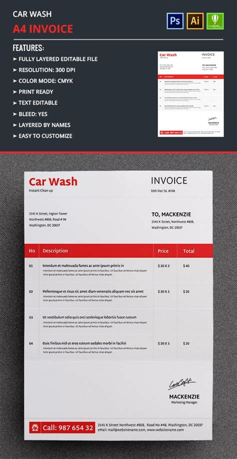 car wash invoice templates word excel