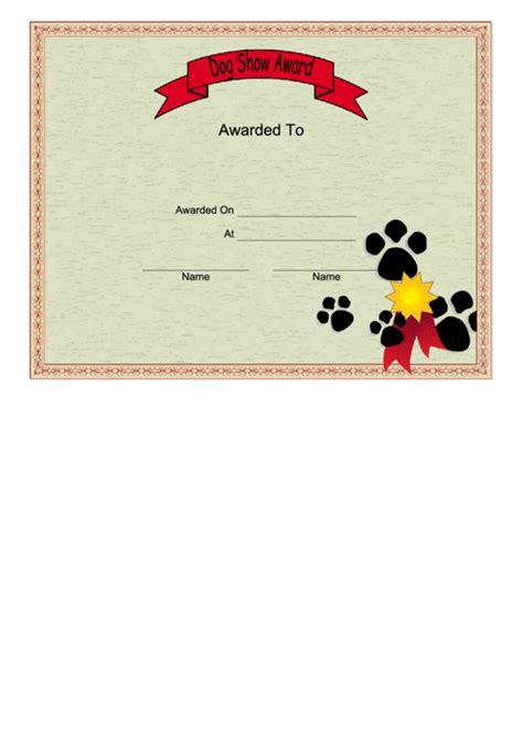 dog show certificate printable
