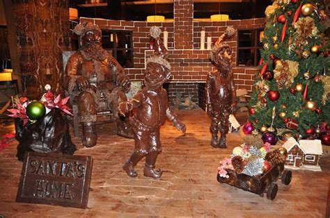 life size chocolate santa  display  houston hotel