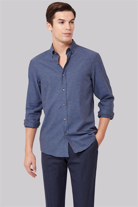 moss  slim fit blue flannel button  casual shirt