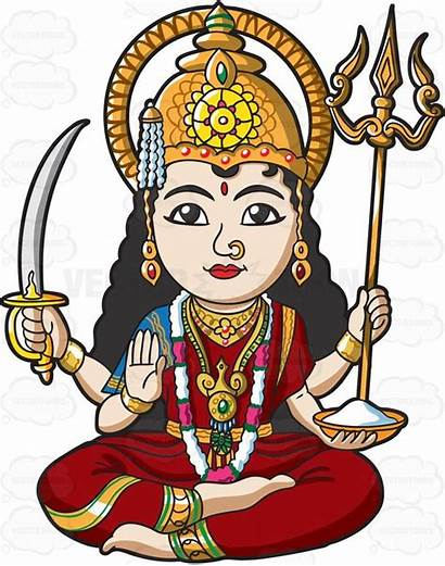 Hindu Goddess Clipart Parvati Indian Cartoon Vector