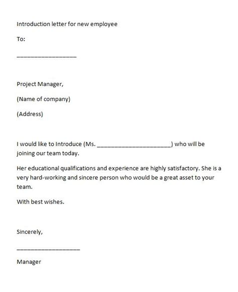new employee introduction letter 40 letter of introduction templates exles