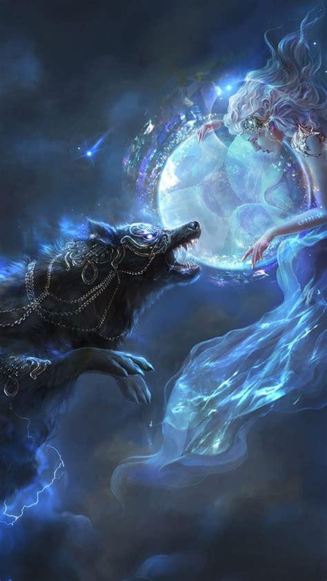 fantasy girl wolf lights stars