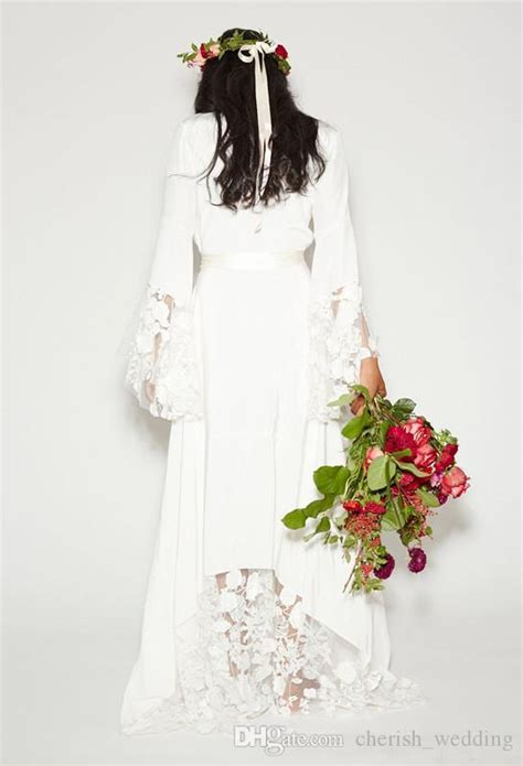 discount bohemian counrtry wedding dresses long sleeves