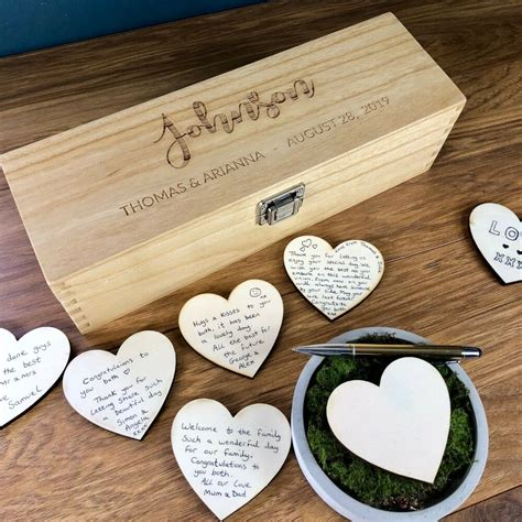 Wedding Guest Book by Wedding Guest Book Personalised Wooden Rustic Drop Box