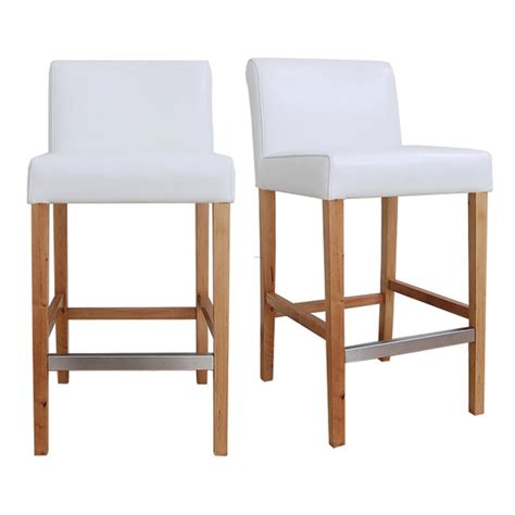 Modern White Leather Bar Stools by Cosmopolitan Modern White Leather Counter Stools Set Of 2