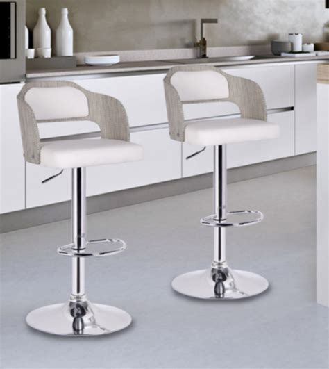 8 white modern bar stools with low back furniture