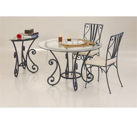 table ronde fer forg 233 et verre quot vogue quot 6565