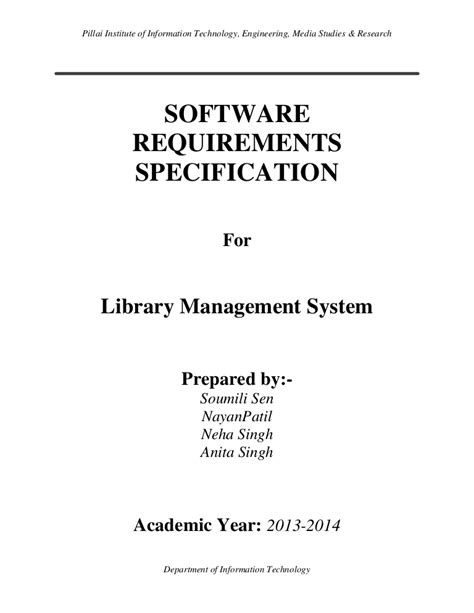 software requirements specification  library management