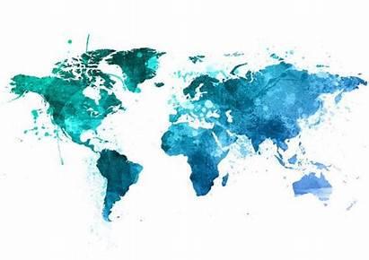 Weltkarte Welt Aquarell Karte Poster Map Zum