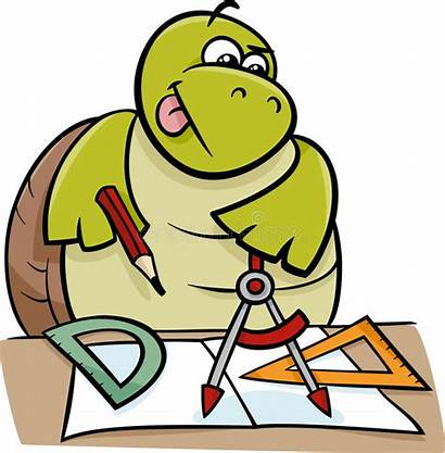 Cartoon Geometry Clipart Illustration Turtle Character Calipers