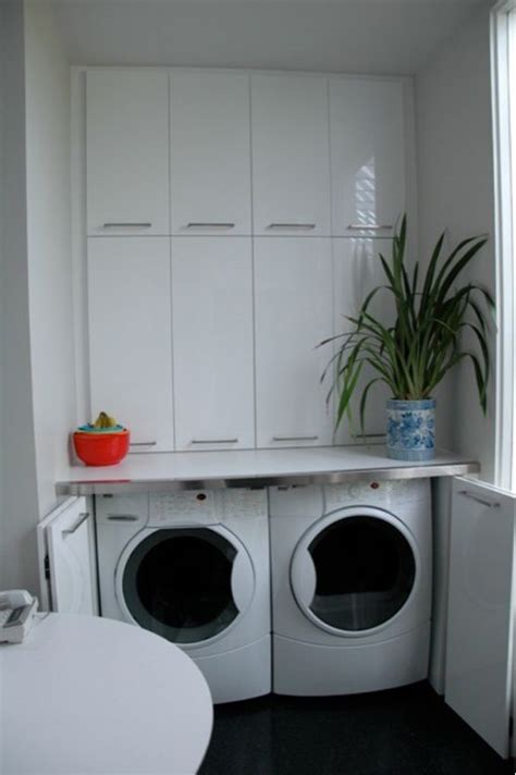 hidden laundry   front loading washer  dryer