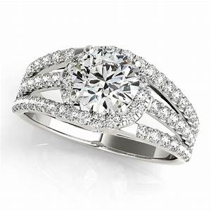 wide triple band diamond engagement ring 14k white gold 213ct With triple band wedding ring
