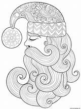 Coloring Beard Santa Pages Swirly Hat Claus Adults Decorative Christmas Printable sketch template