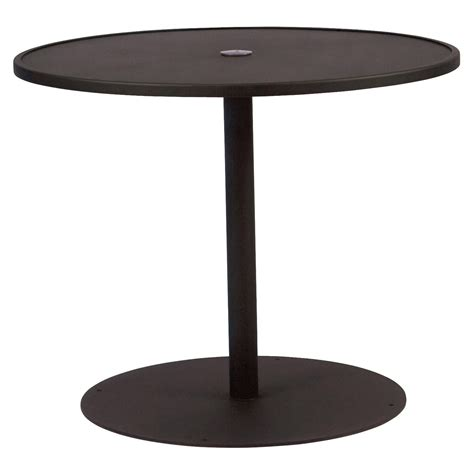 outdoor dining table with umbrella hole woodard solid top round pedestal patio dining table with