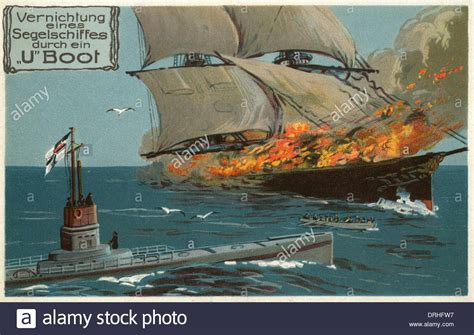 U Boat Visit by German Postcard U Boat And Sailing Ship Ww1 Stock Photo