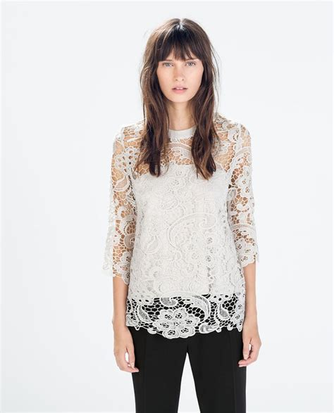 zara white blouse zara guipure white lace blouse ref no 0387 200 sgd 79 90