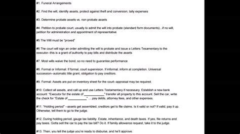 wills probate  executors thirteen step guide