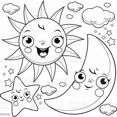 Moon Coloring Sun Stars Cartoon Illustration Clouds