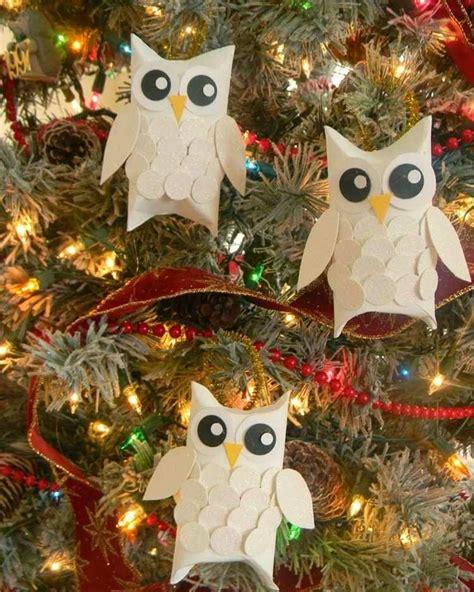 decoration noel pour enfant bricolage pour enfants hiboux rouleaux papier deco sapin noel poids rouleaux