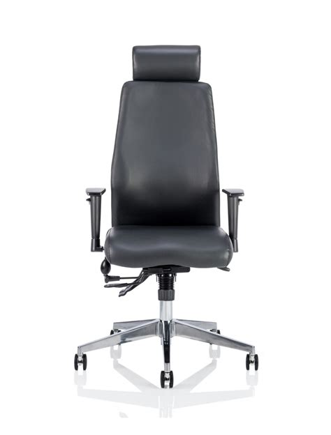 dynamic onyx leather office chair with headrest ivonyx03