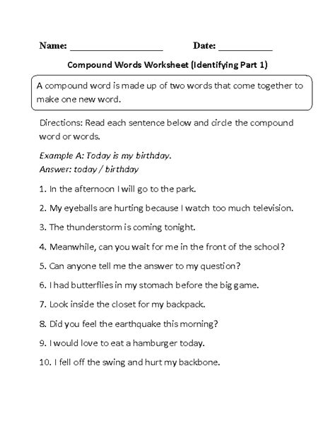 word finding worksheets englishlinx compound words worksheets
